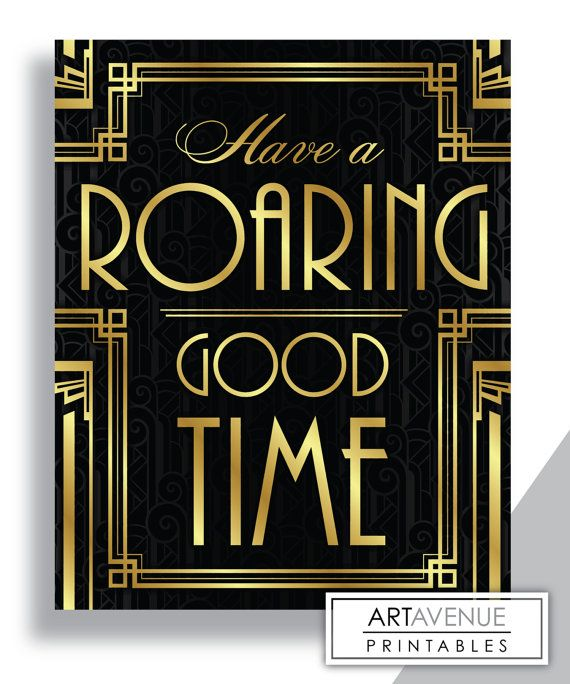 Have A Roaring Good Time Message Print, Bar Sign, Typography Art - Printable Art, Classic Cinema Great Gatsby Wedding Art Deco Style - Retro -