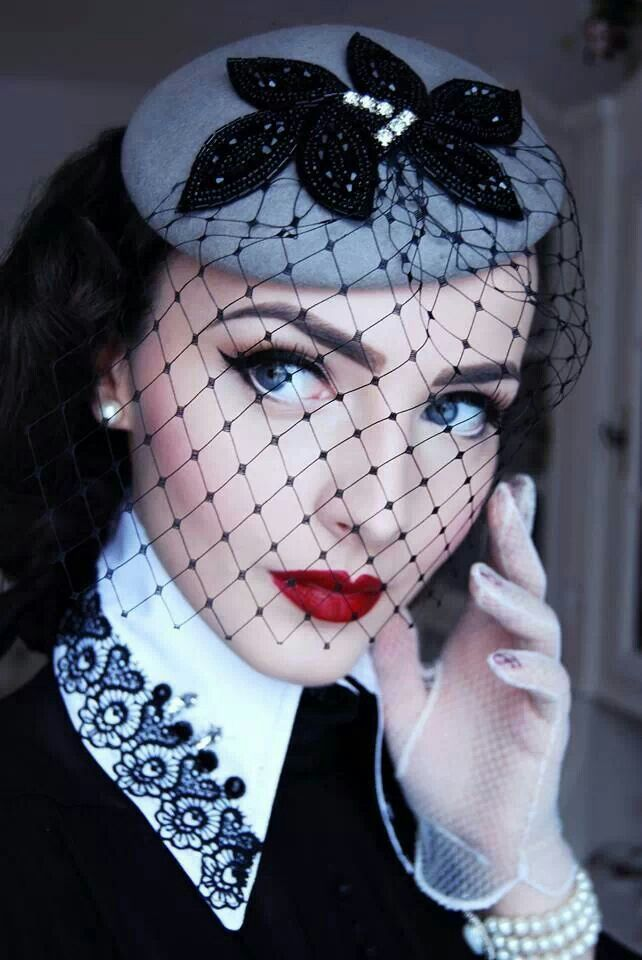 which board to put this on, makeup, hats or vintage - black and gray fascinator with viel - cool hat