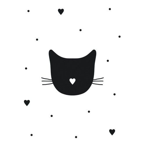 heart nose on black cat http://www.ippysposters.nl/audrey-jeanne-poster-miauw.html