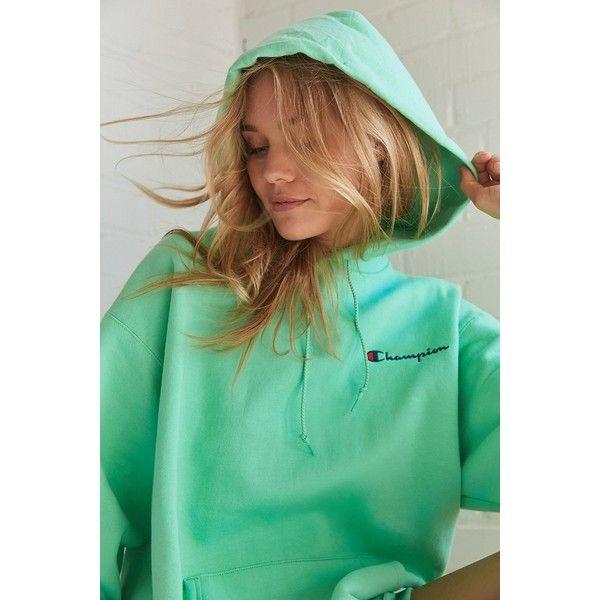 Champion + UO Powerblend Mini Logo Hoodie Sweatshirt ($65) ❤ liked on Polyvore featuring tops, hoodies, hooded sweatshirt, green hoodies, mini top, oversized hoodie and green top