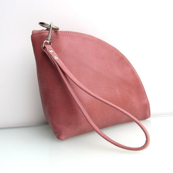 Leather Qbag clutch / zipper pouch / bag organizer / in pink leather handmade by rinarts