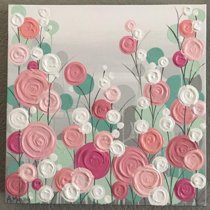 Menta rosa Coral melocotón y gris textura vivero arte