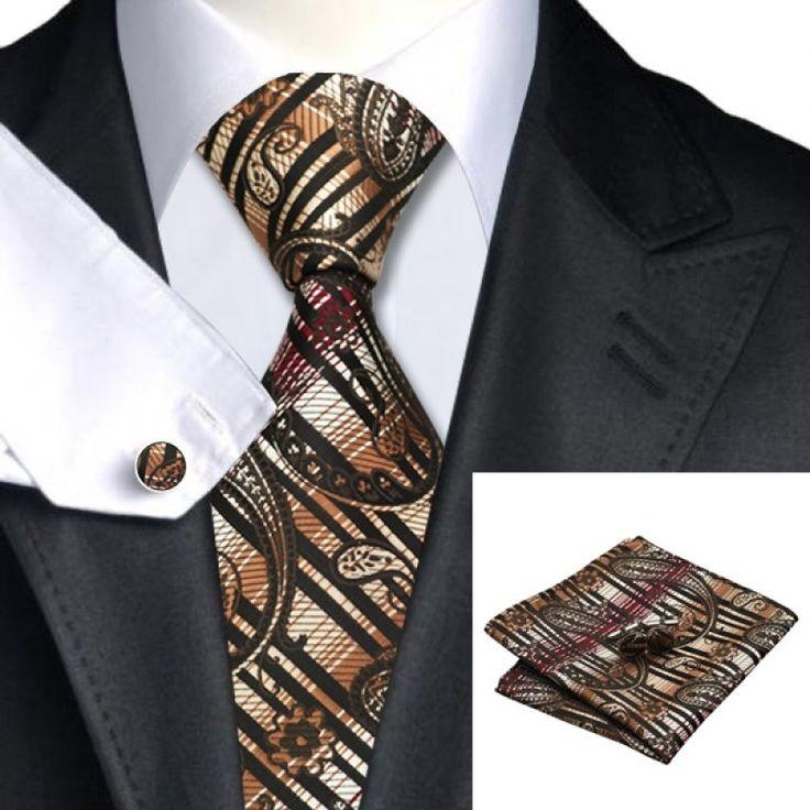 Подарочный галстук коричневый с абстракциями - купить в Киеве и Украине по недорогой цене, интернет-магазин