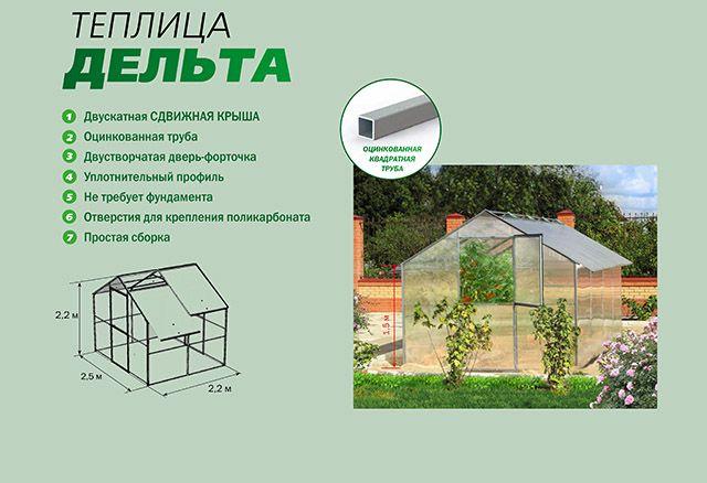 Теплица Дельта, из поликарбоната, идеальный вариант для вашего хозяйства. Купить теплицу из поликарбоната от производителя. Ростовская область