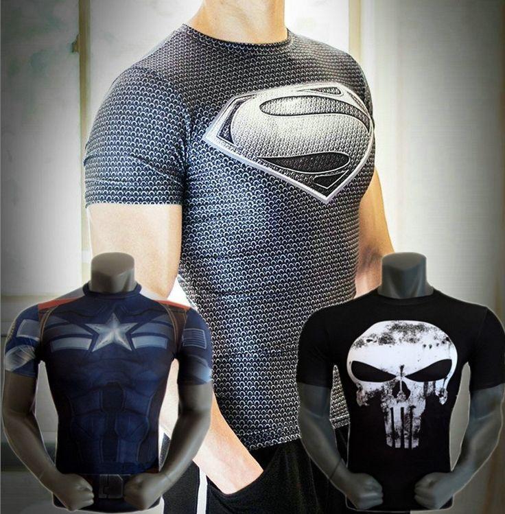 Free shipping 2015 new men steel beast compression shirt superman/batman/gym/run/train t shirt fit tight shirts sports t-shirt #regalo #arte #geek #camiseta