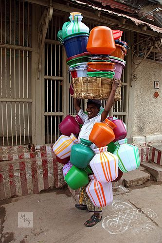 Man carrying his stock on his head, India | Flickr - Photo Sharing!
