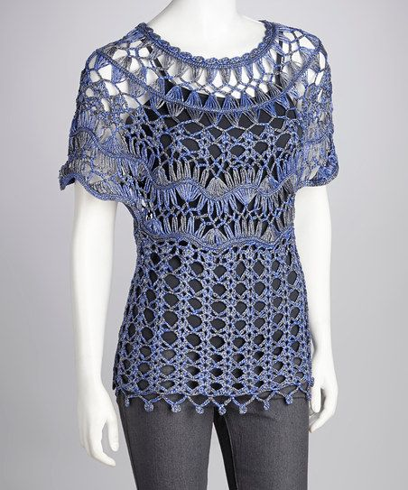 Blue Crocheted Cape-Sleeve Top Hairpin lace  crochet
