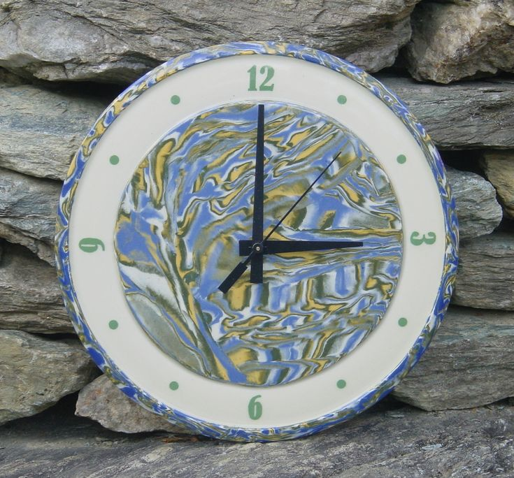 Ceramic clock wall art handcrafted by ChippingstoneCottage on Etsy