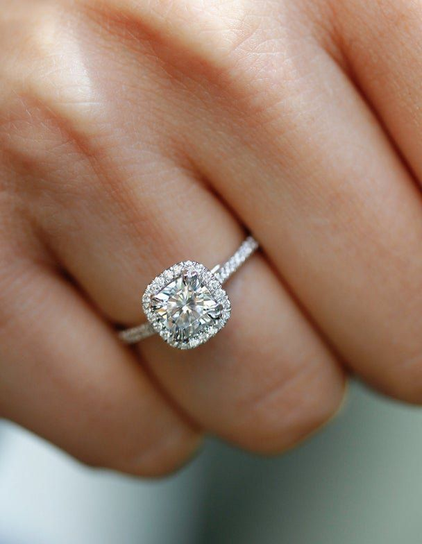 1 1 3 Carats Ct Tw Cushion Halo Moissanite Lab Grown Diamond Engagement Rin In 2020 Square Engagement Rings 14k White Gold Engagement Rings Circle Engagement Rings