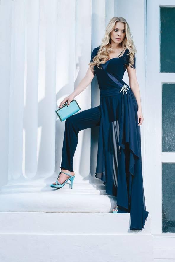 Tuta in jersey raso e chiffon blue con dettagli strass.  Sandali gioiello e clutch in raso turchese della collezione Bianca Brandi Shoes & Bags S/S 2014  #moda #abbigliamento #primavera #estate #abito #abitodasera #abitolungo #tulle #abitodacerimonia ##fashion #coture #fashionvictim #style #fashionwoman #look #outfit #dress #partydress #wedding #weddingoutfit #weddingdress #elegance