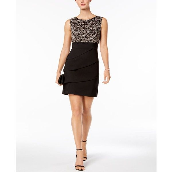 Connected Petite Tiered Sequined Sheath Dress (255 BRL) ❤ liked on Polyvore featuring dresses, gold, white cocktail dress, sequin cocktail dresses, petite cocktail dress, petite sheath dress and white lace cocktail dress