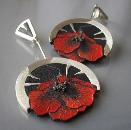 Earrings | Jolanta Bromke.  Sterling silver, leather and paint.