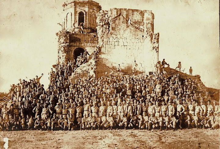 Members of the Guerilla Army assembled in front of the ruins of Antipolo church after the liberation of Manila. Circa 1945  Americans and Filipino soldiers belonging to the 2nd Squadron of the 112th Cavalry Regiment and the Batute Infantry Regiment under the command of B/Gen. William Cunningham of the U.S. Army with headquarters in Antipolo, Rizal. Their mission is to secure the eastern section of Luzon from Gapan, Nueva Ecija in the north to Laguna in the south. Photo courtesy of Ricky…