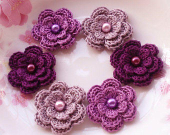 6 Gehäkelte Blumen mit Perlen In Lila Nebel, lila, Pflaume YH-013-40