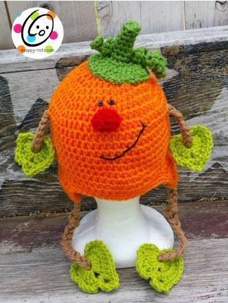 free crochet hat pattern: patrick pumpkin ༺✿ƬⱤღ https://www.pinterest.com/teretegui/✿༻