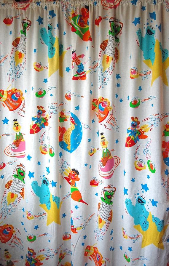 Vintage Sesame Street Curtain Set Panels Of By SprinklesInTime 2500
