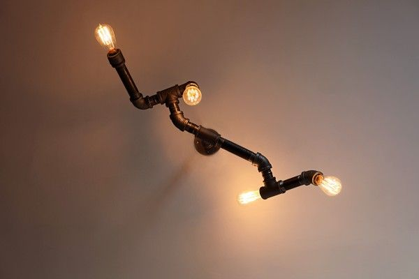 DIY steampunk-style iron pipe Edison fixture   unmaintained