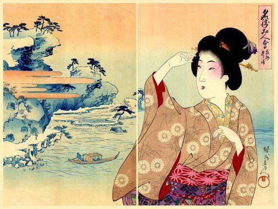 Japanese geishas, beauties art prints. Beautiful women, landscapes Chikanobu. Japanese prints, paint