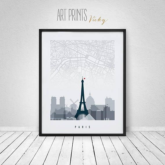 Paris wall art Paris map with skyline print poster France