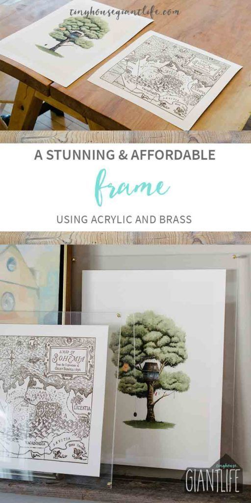 DIY Picture Frame| DIY Frame| Art Frame| Looking for a solution to odd sized art prints? This simple, stunning, and affordable frame for art is made from acrylic and brass hardware. The art frame will keep the picture safe from children, animals, without