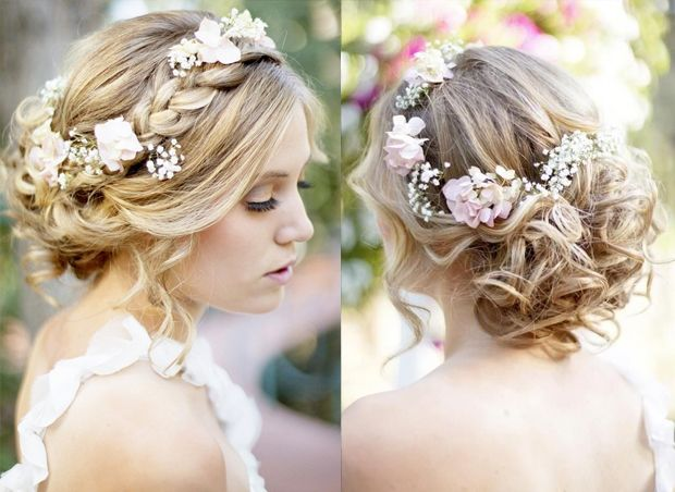 nice hair do - baby's breath + baby pink flowers