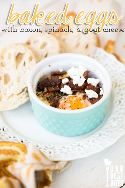 Baked eggs with spinach, bacon, and goat cheese.