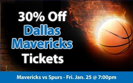 30% off Dallas Mavericks Tickets vs San Antonio Spurs Fri. Jan. 25 @ 7:30pm