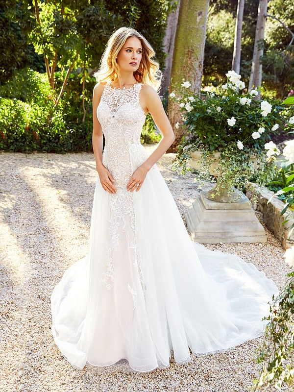 Moonlight Couture H1353 Por Sleeveless Scoop Neck Lace Wedding Gown With Optional Detachable Organza Skirt