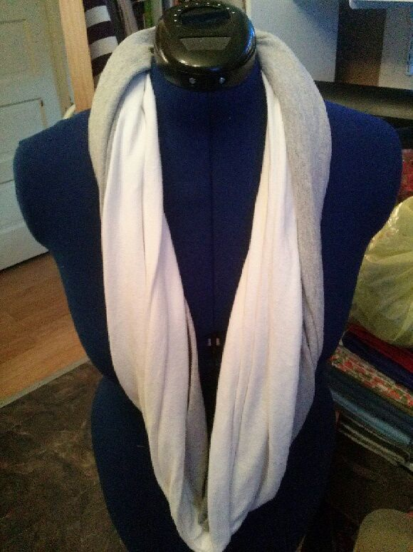 Gray and white infinity t-shirt scarf.