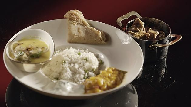 Goat Curry with Dhal and Pilau Rice