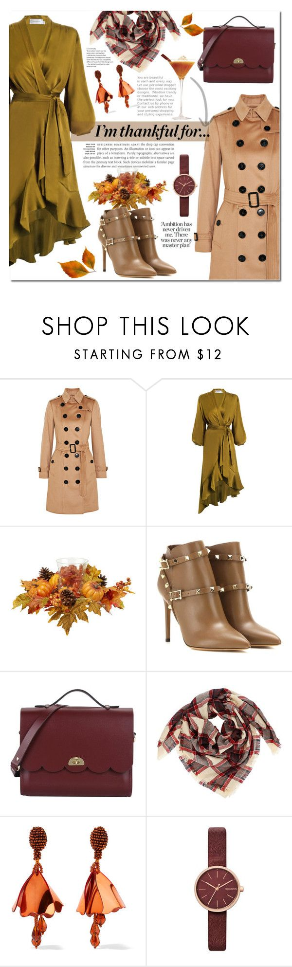 """""""I'm thankful for..."""" by mery90 on Polyvore featuring Burberry, Zimmermann, Valentino, The Cambridge Satchel Company, Oscar de la Renta, Skagen, thanksgiving, fallstyle and fall2017"""