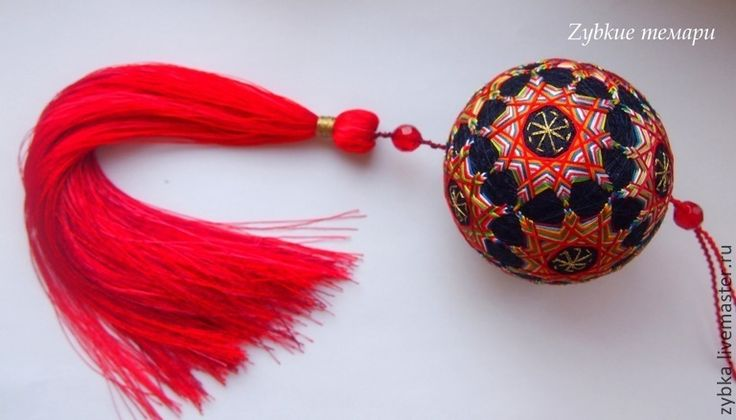 """Купить Темари """"Коловрат"""" - ярко-красный, темари, вышивка, необычный подарок, оригинальный подарок, подвеска"""