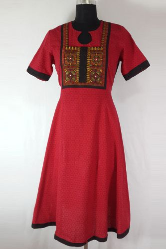 Red Mirror Work Ethnic Anarkali, 100% Red Cotton Long Kurti, Mirror patch work yoke in front, Black Bandhani Back.