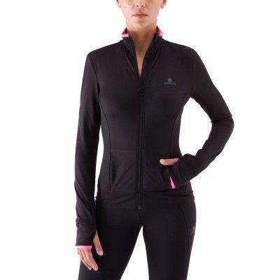 20e Felpe Abbigliamento fitness,Danza - Felpa fitness donna BREATHE nero-rosa DOMYOS - Abbigliamento Palestra