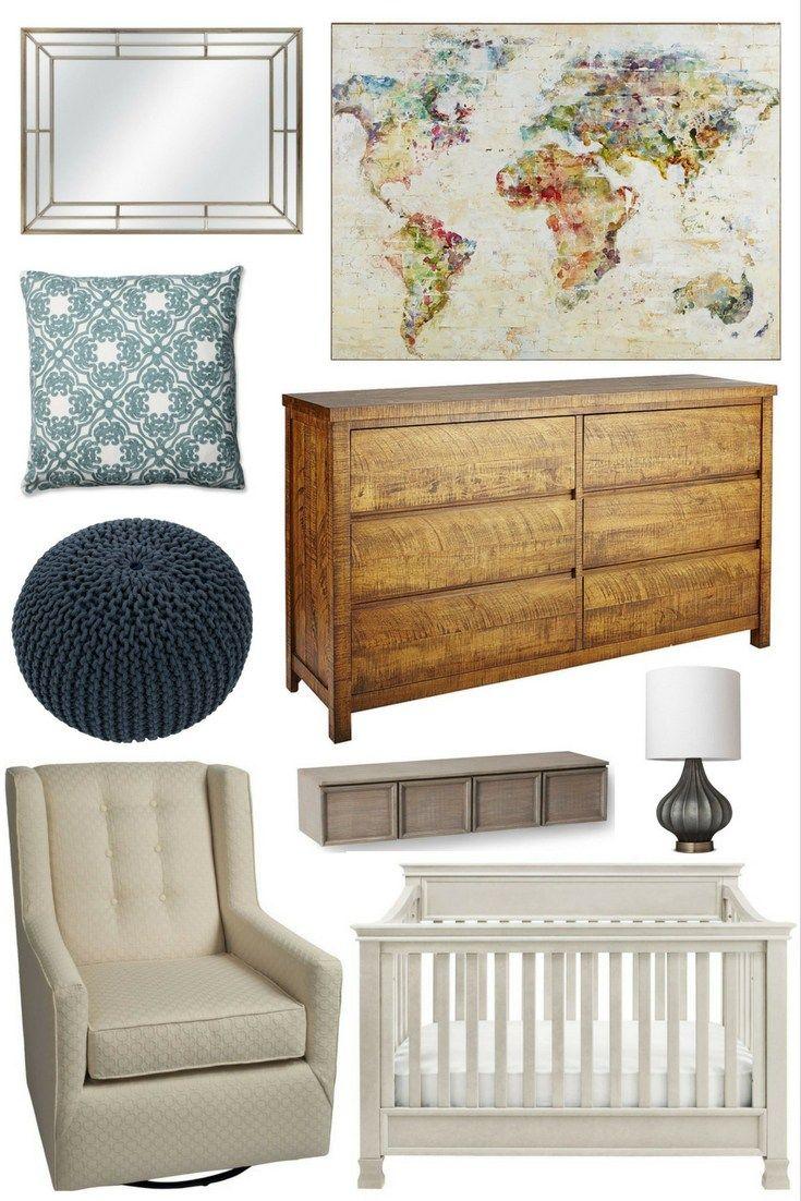 Nursery Inspiration: World Map Art, Boy Nursery, Natural Wood Dresser