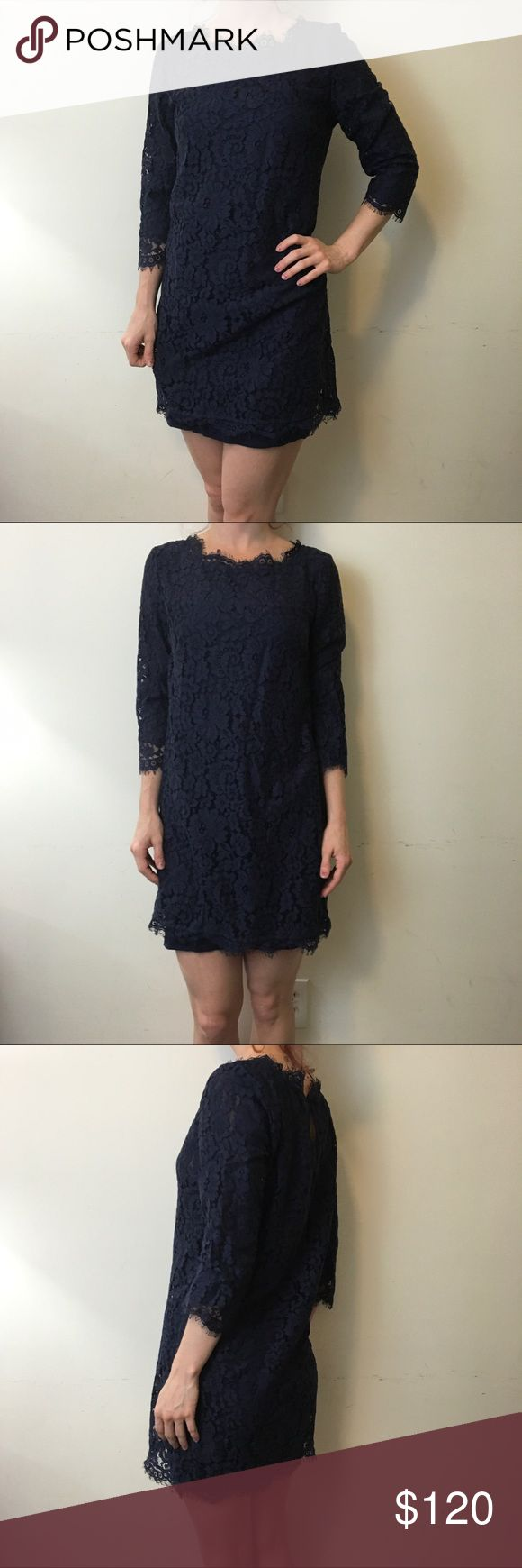 """Joie Navy Lace Scalloped Shift Dress Gorgeous JOIE dress in navy with lace all over and scalloped hems. Sleeves are mid length and is lined along with an optional navy slip inside. Above knee length and is a size small. In new condition not worn. Shoulder to hem is 31"""" Joie Dresses Mini"""