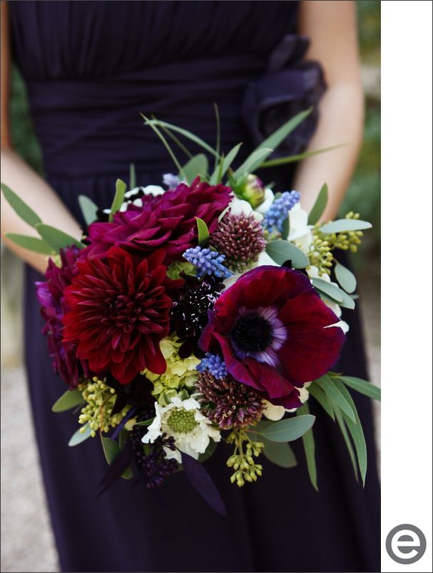 Fall bridesmaids bouquet, burgundy, purple, green, white. Dahlias, clematis, muscari, seeded euc, scabiosas, alliums.