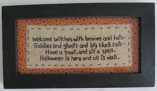 Primitive Country Halloween Stitchery - Autumn Home Decor   eBay