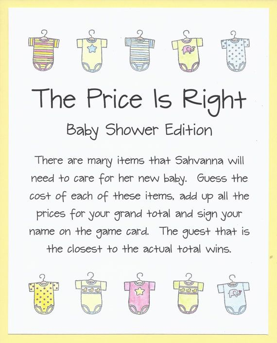 the price is right baby shower game