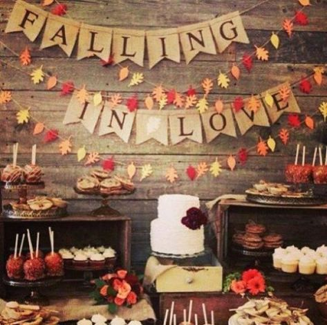Fall dessert table and bunting
