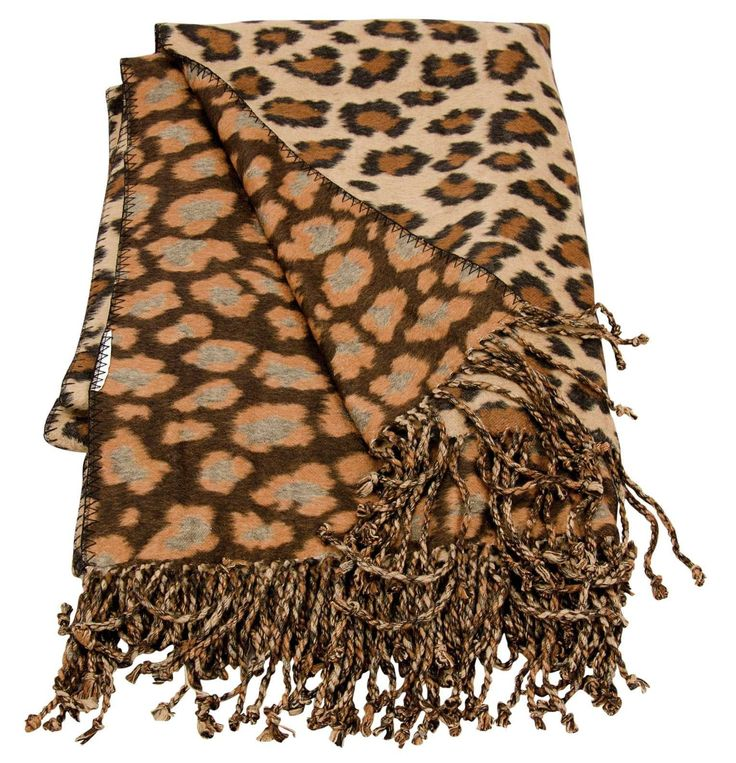 Mina Victory Throw Leopard Print Throw Brown/Beige Throw Blanket