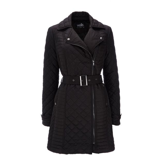 Black Padded Coat ($49) ❤ liked on Polyvore featuring outerwear, coats, jackets, coats & jackets, black, mid length coat, wallis coats, padded coat and belted coats