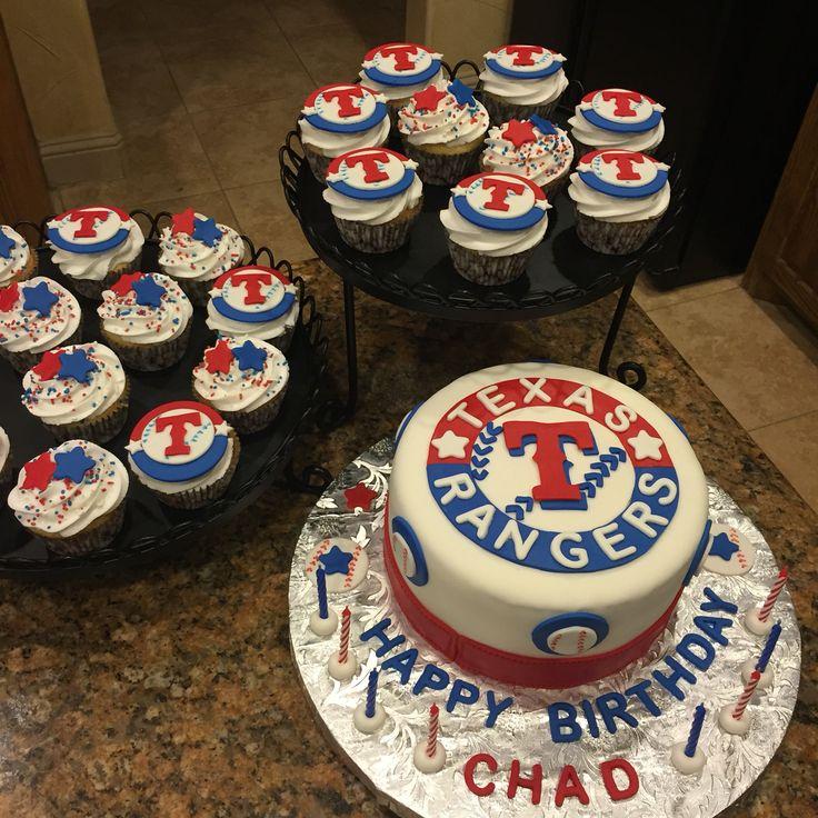 Texas Rangers cake and matching cupcakes!  Texas Rangers birthday cake!