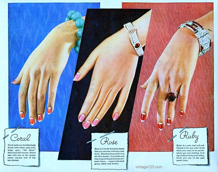1930's ad showing how nails were painted, up until the mid 40's, with half moons and tips always left bare. All over color was considered vulgar.