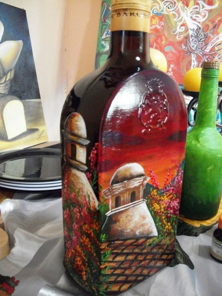1000 images about painted bottles on pinterest antigua for How to paint bottles with acrylic