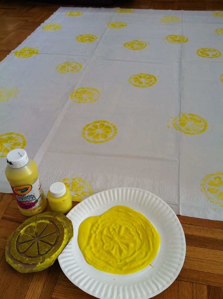 Made a 'citrus' stamp from cardboard, and stamped away on a cheap paper tablecloth. It will look great for the Alex's Lemonade Stand! And SO easy. Would be a great way to coordinate a tablecloth to birthday party themes too.