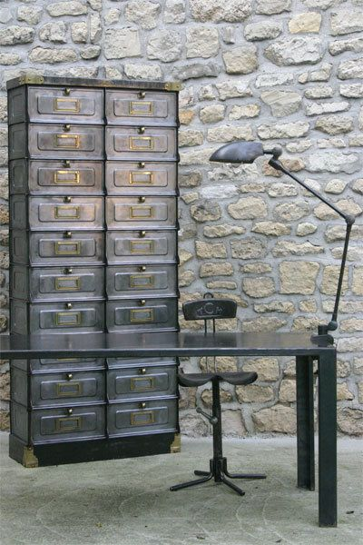 1940's Strafor cabinet with a metal desk and an industrial lamp, perfect combination! #LaBoutiqueVintage
