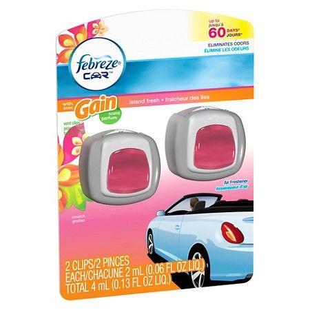 Febreze Car Vent Clip with Gain Island Air Freshener 0.13 oz : Target