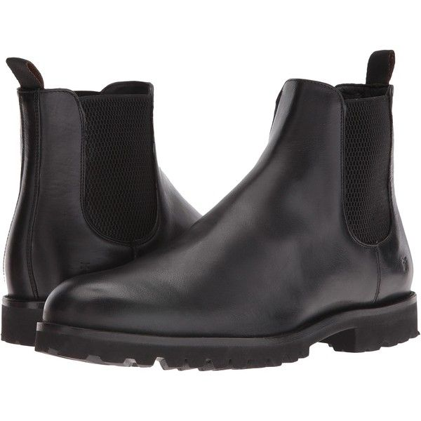 Frye Edwin Chelsea (Black Tumbled Pull Up) Men's Pull-on Boots ($180) ❤ liked on Polyvore featuring men's fashion, men's shoes, men's boots, black, mens leather chelsea boots, mens slip on boots, mens black slip on boots, mens beatle boots and mens leather boots