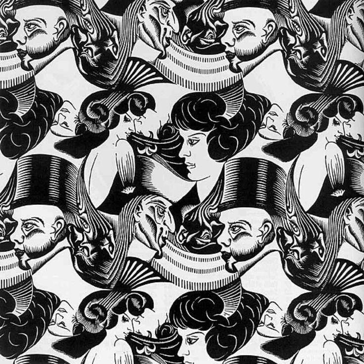 Escher: Eight Heads, woodcut stamped print, 1922